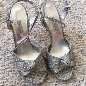 Caparros silver 4 1/2 inch heels